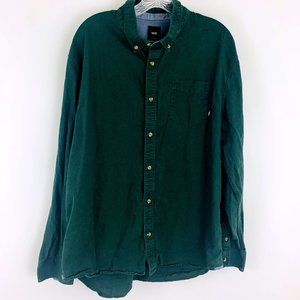Vans Green Cotton Collared Button Down Shirt XL